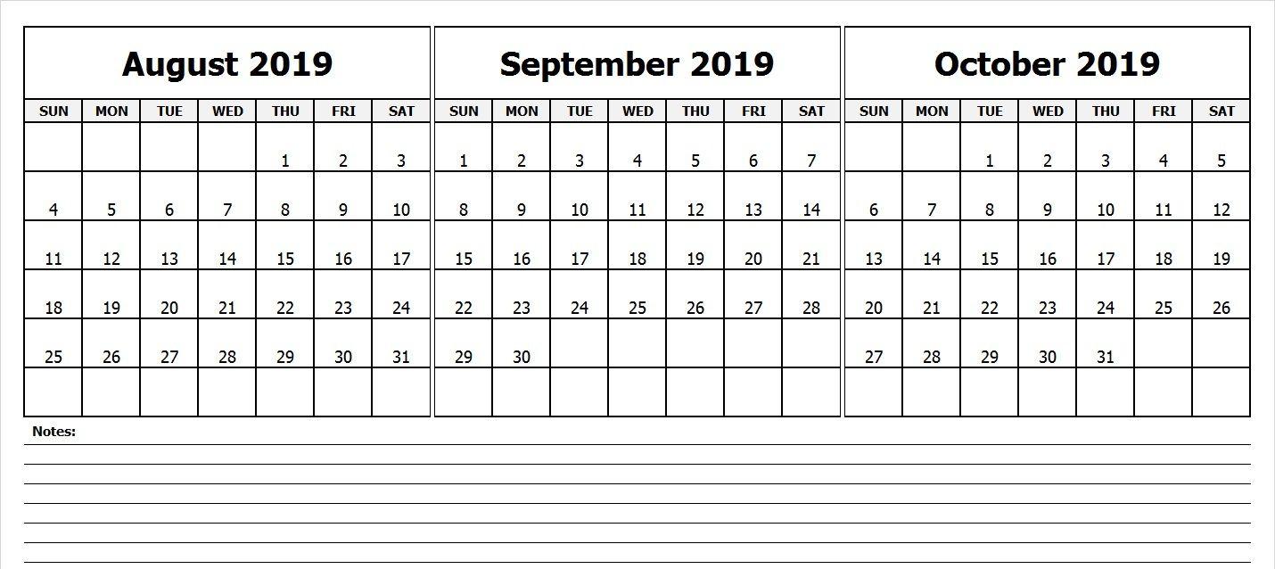 Blank August September October Calendar 2019   Printable