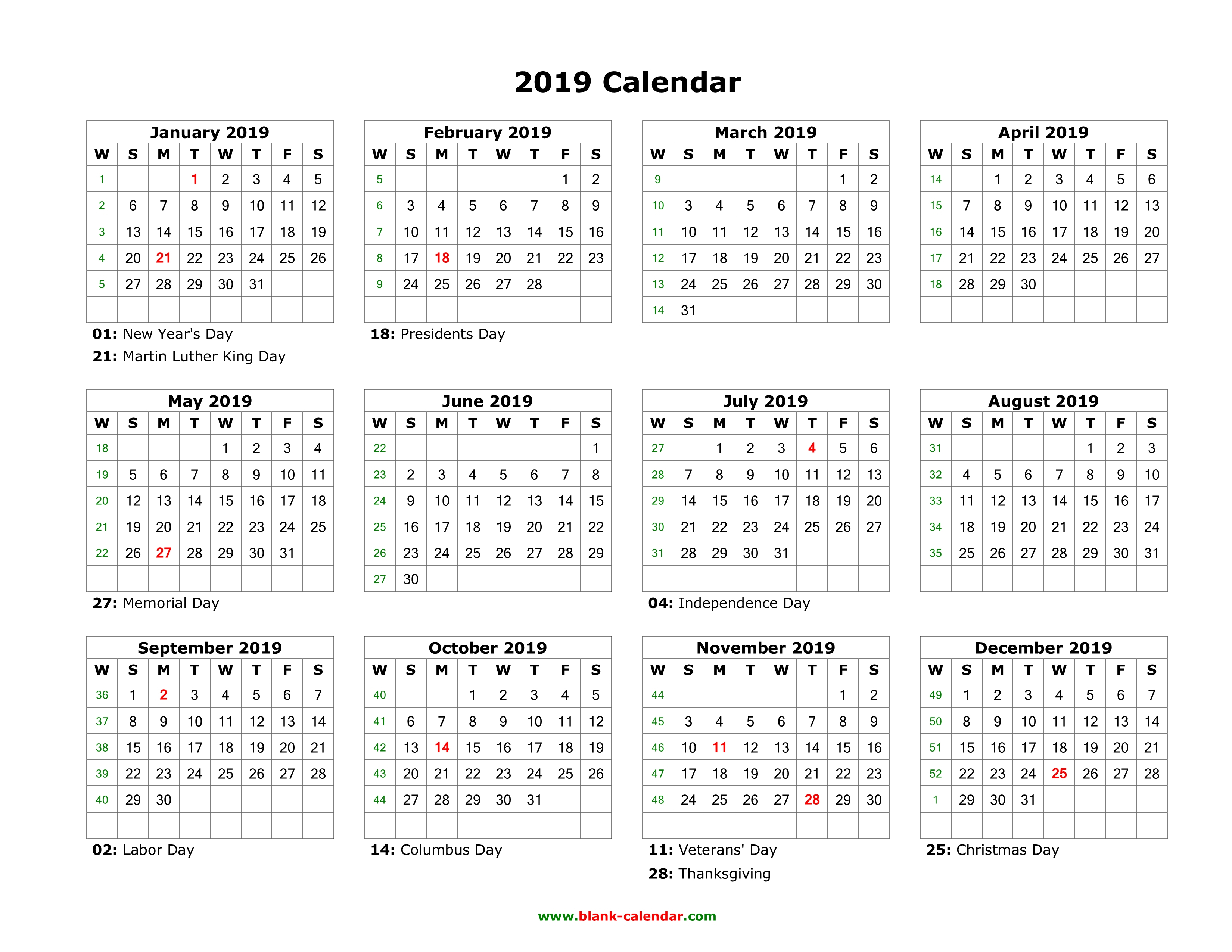 Blank Calendar 2019 | Free Download Calendar Templates