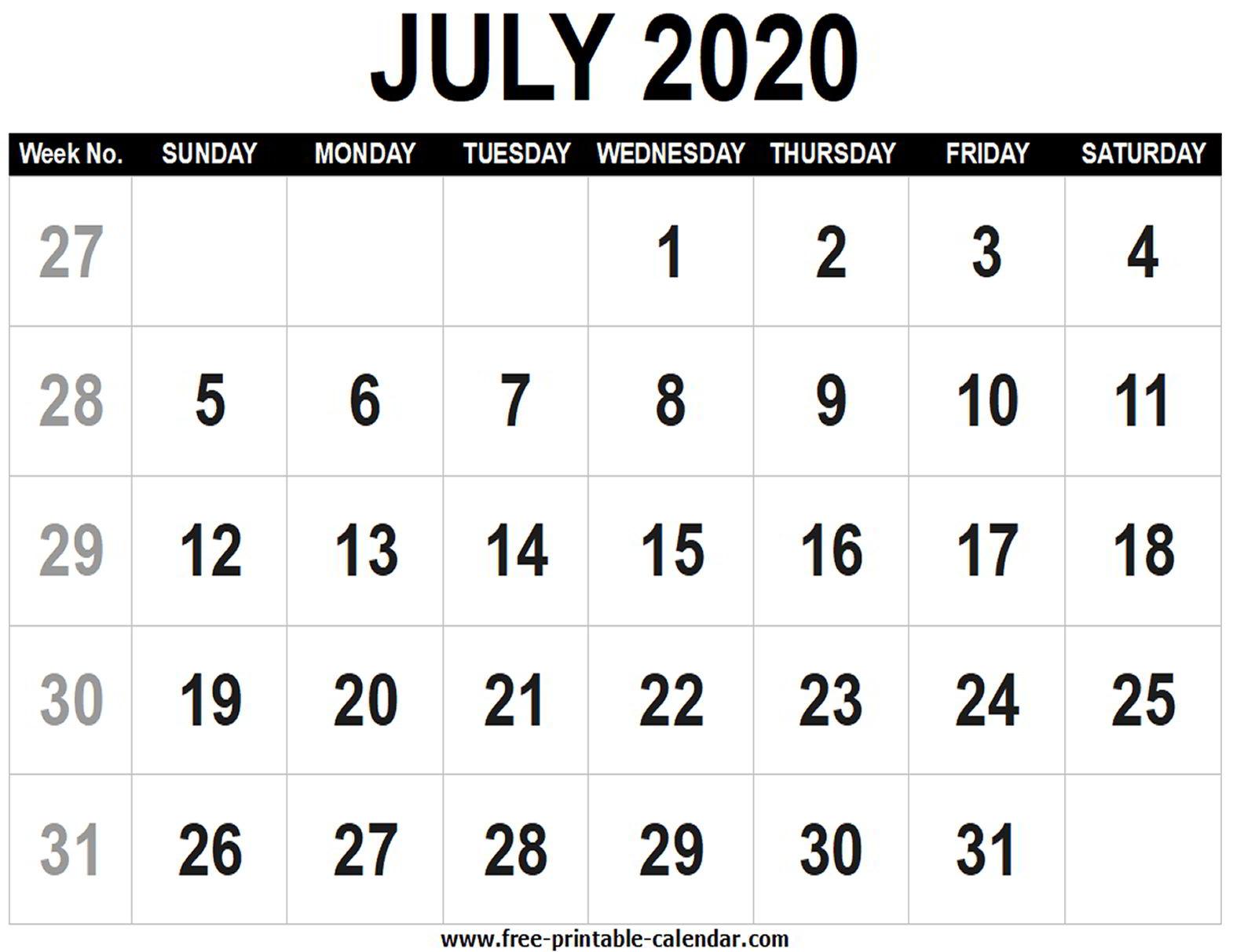 Blank Calendar 2020 July - Free-Printable-Calendar