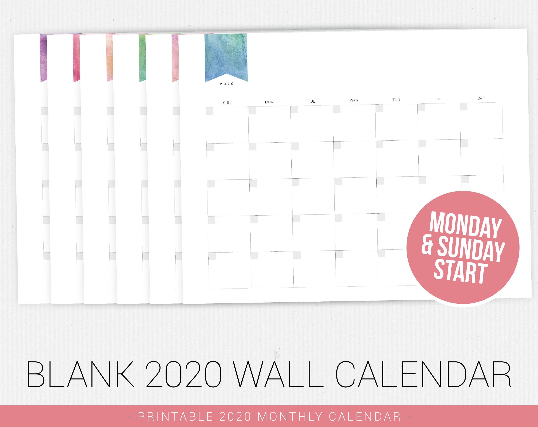 Blank Calendar 2020, Perpetual Calendar,printable Calendar, 2020 Calendar  Pdf, Printable Pdf, Monthly Calendar, Minimal Calendar, Calendar