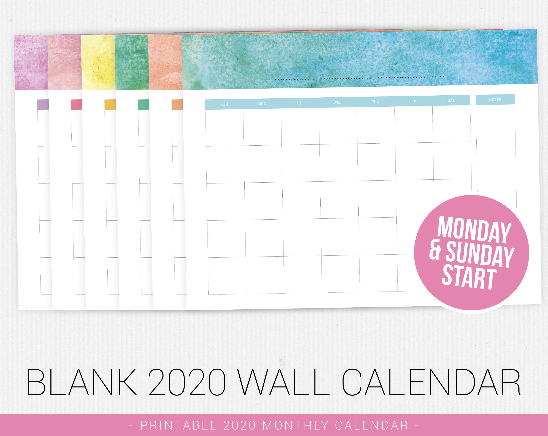 Blank Calendar 2020, Printable Calendar, 2020 Calendar Pdf, Printable Pdf,  Monthly Calendar, Minimal Calendar, Calendar Printable, Printable