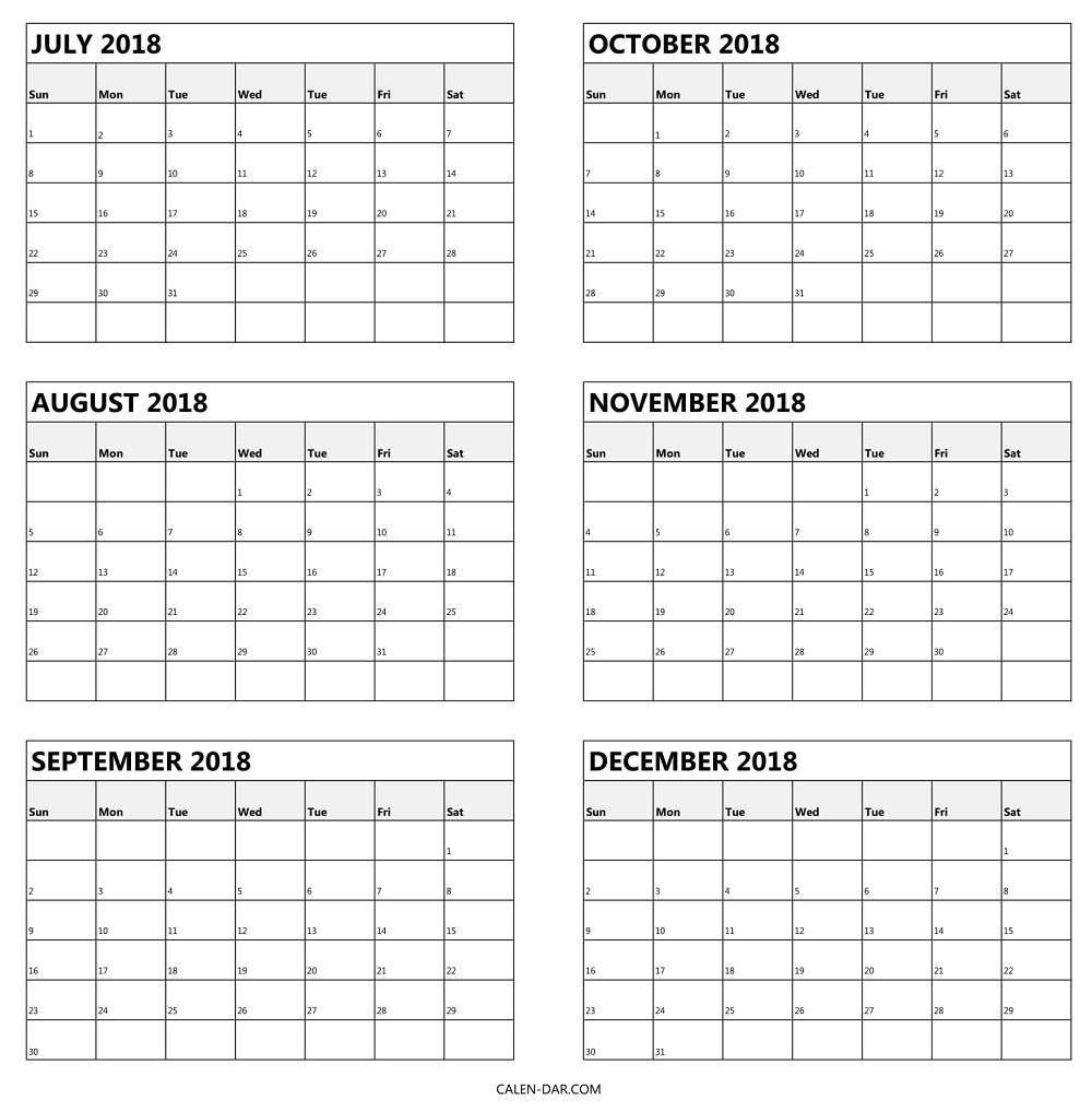 Blank Calendar 6 Months | One Page Calendar Printable