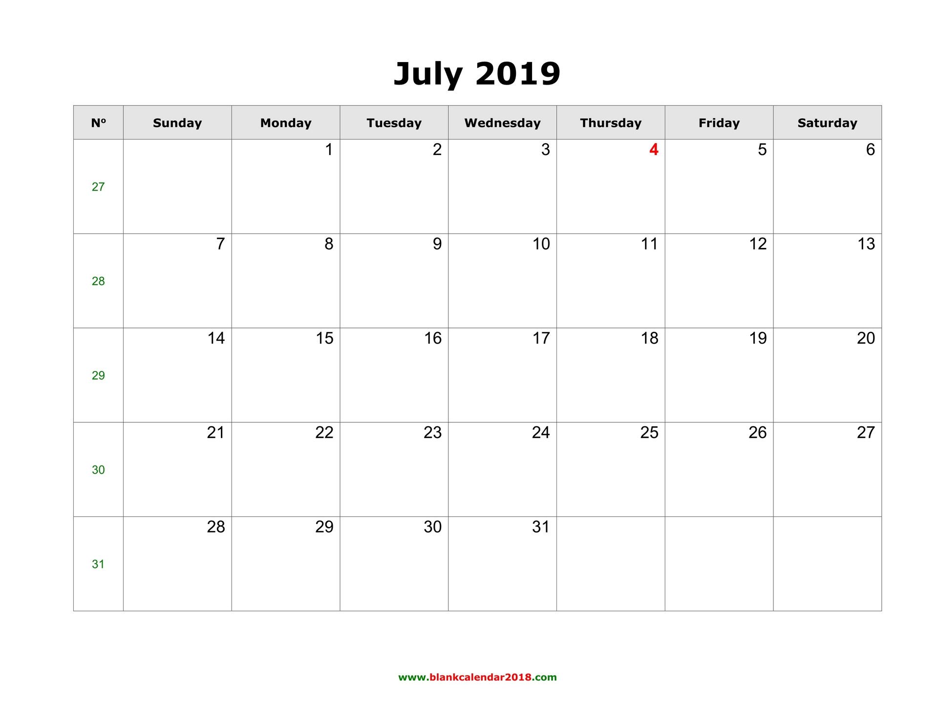 Blank Calendar For July 2019