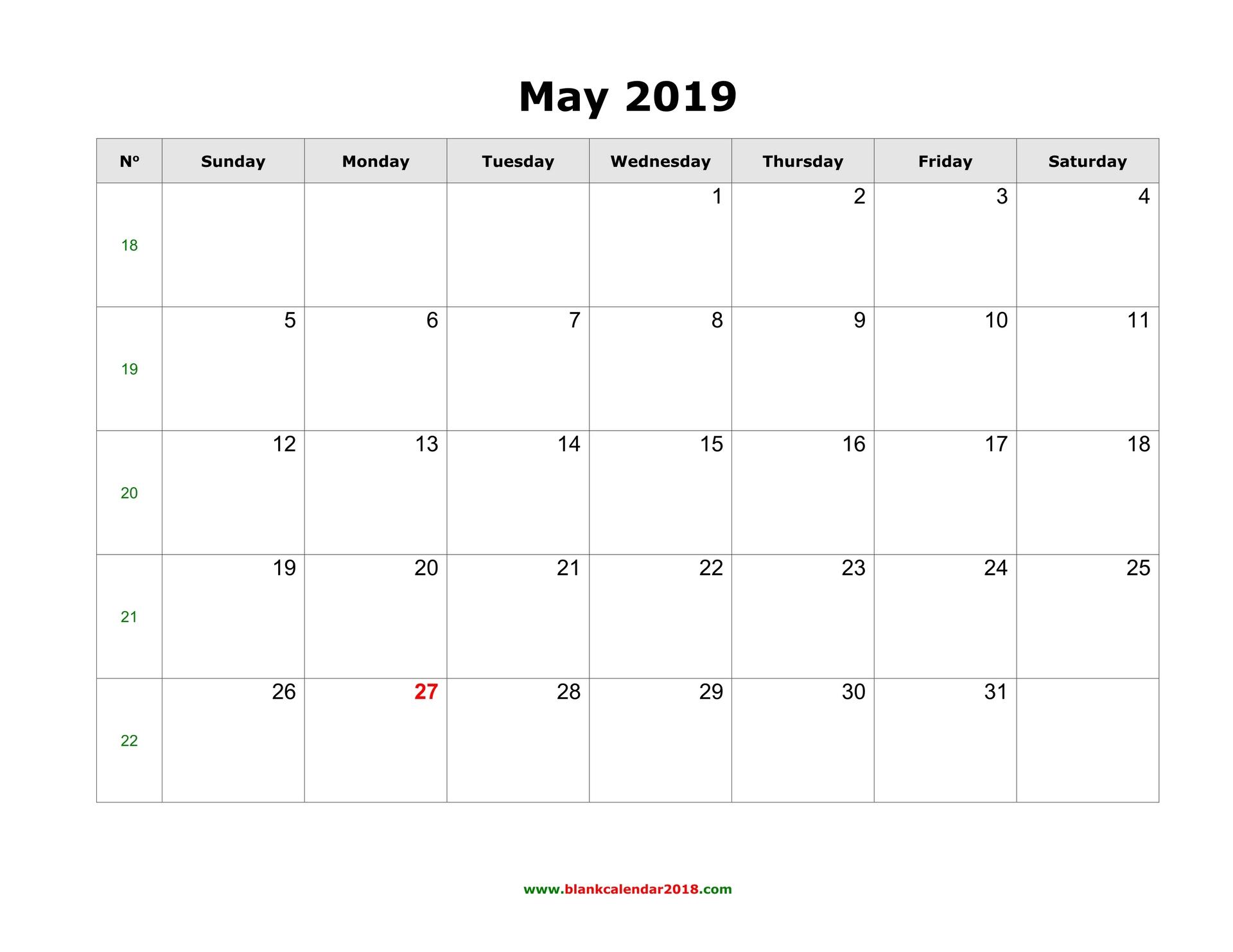 Blank Calendar For May 2019
