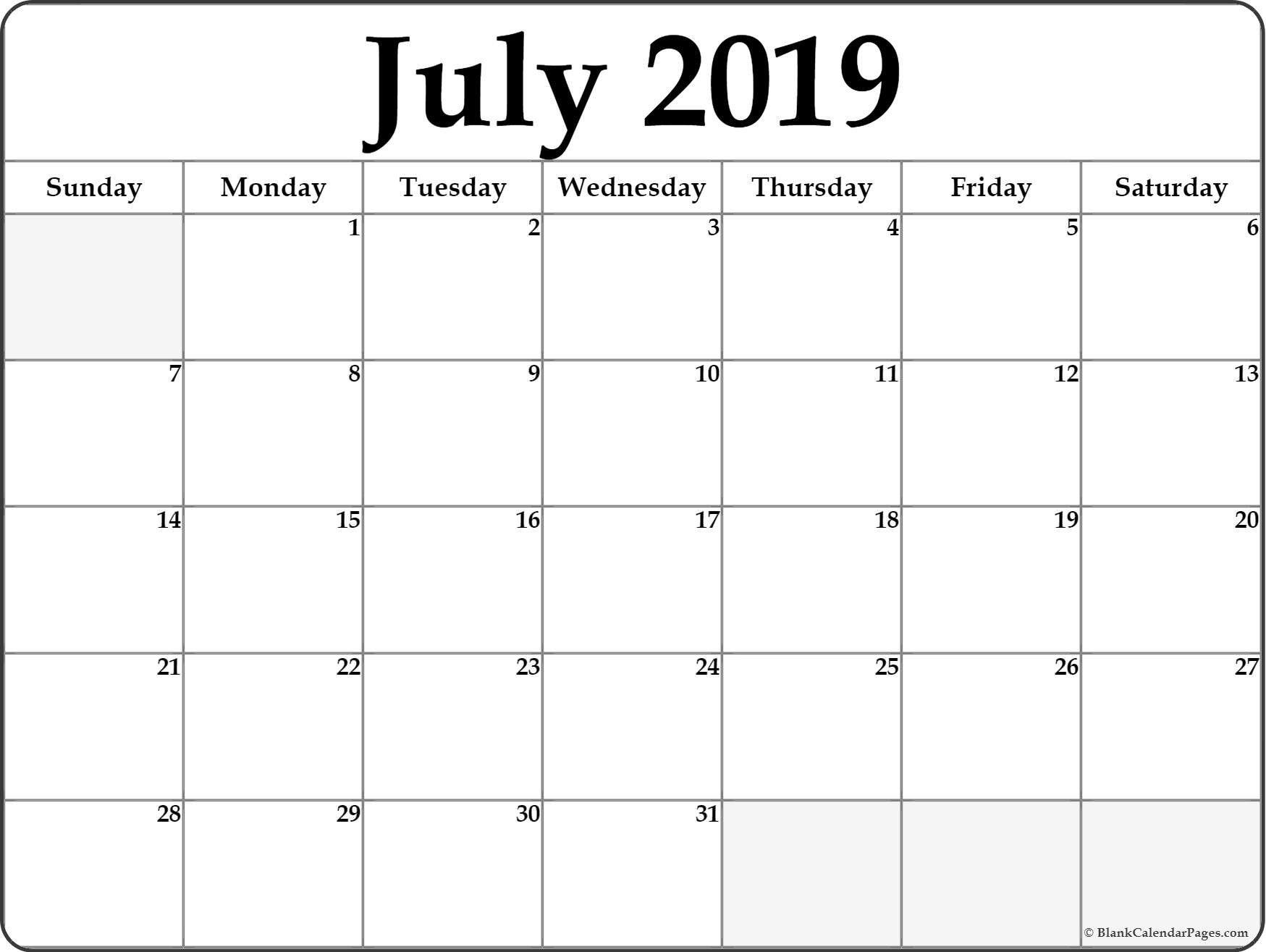 Blank Calendar July 2019 Printable | 100+ July 2019 Calendar