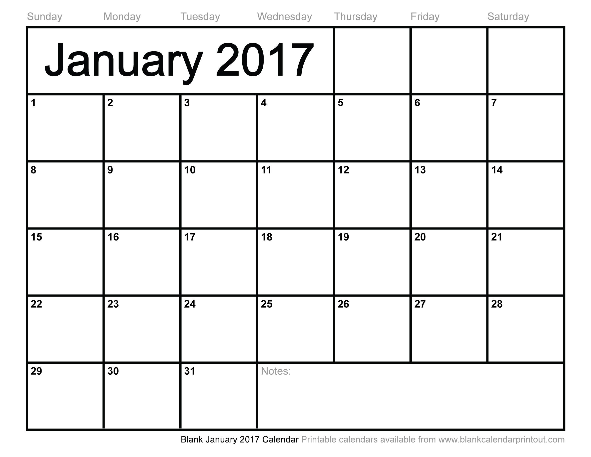 Blank Calendar Printable 2017 | Hauck Mansion