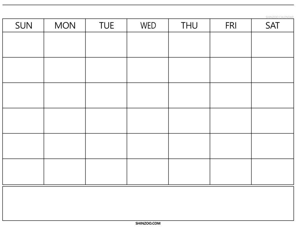Blank Calendar Template 2019 Printable – Shinzoo