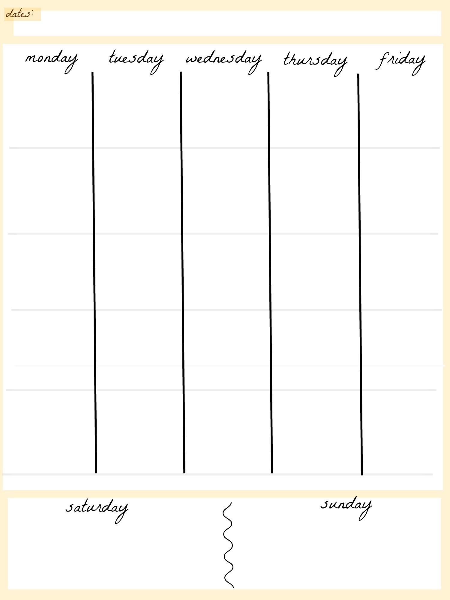 Blank Calendar Template 5 Day Week Weekly Calendar 5 Day