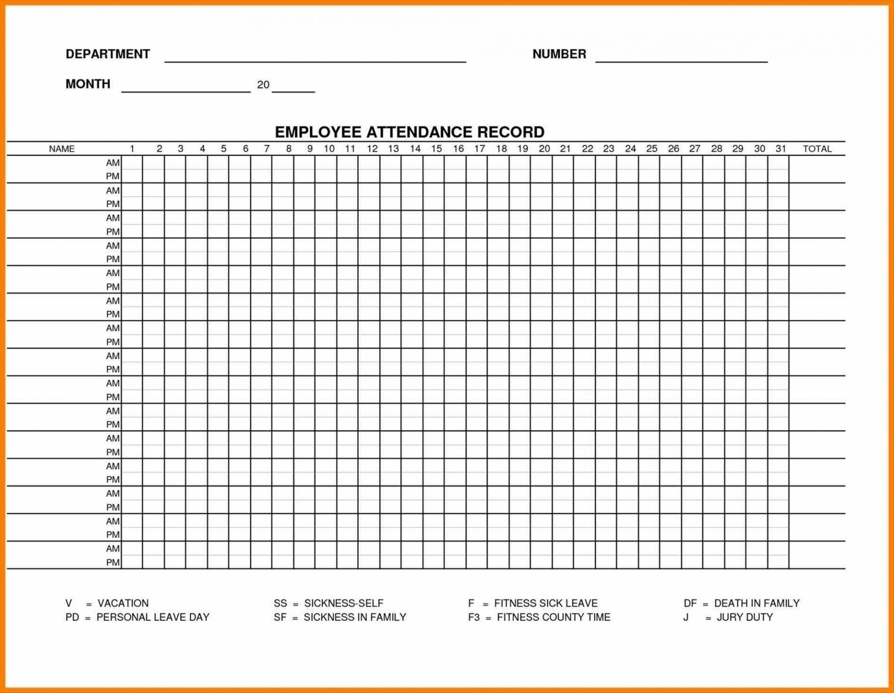 Blank Employee Attendance Calendar Monthly | Ten Wall Calendar