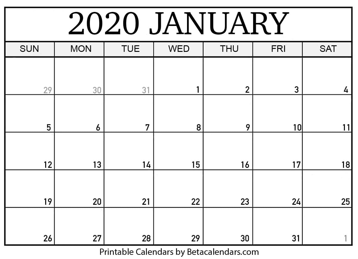 Blank January 2020 Calendar Printable - Beta Calendars