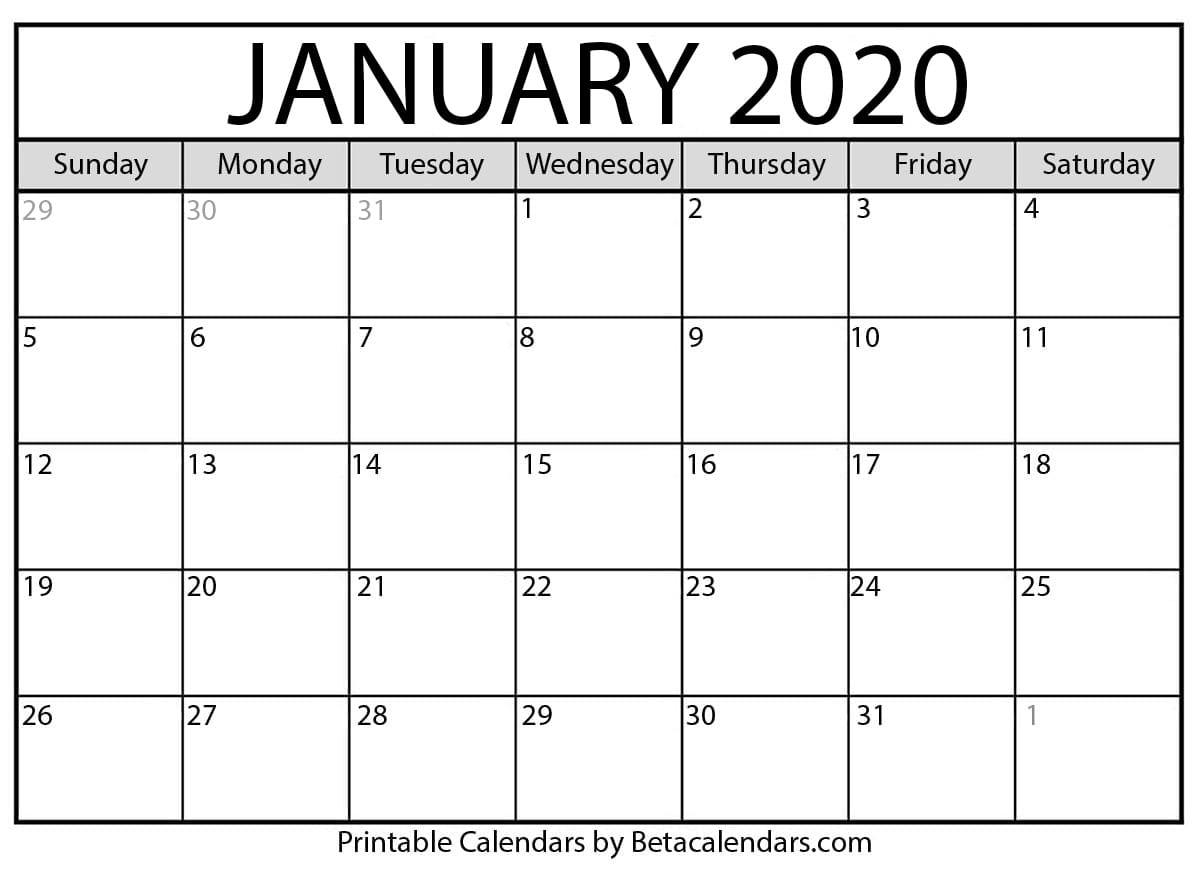 Blank January 2020 Calendar Printable - Beta Calendars