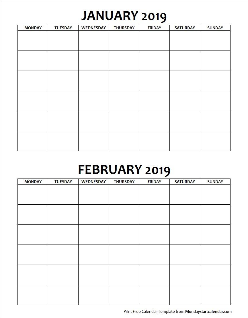 Blank January February 2019 Calendar Monday Start