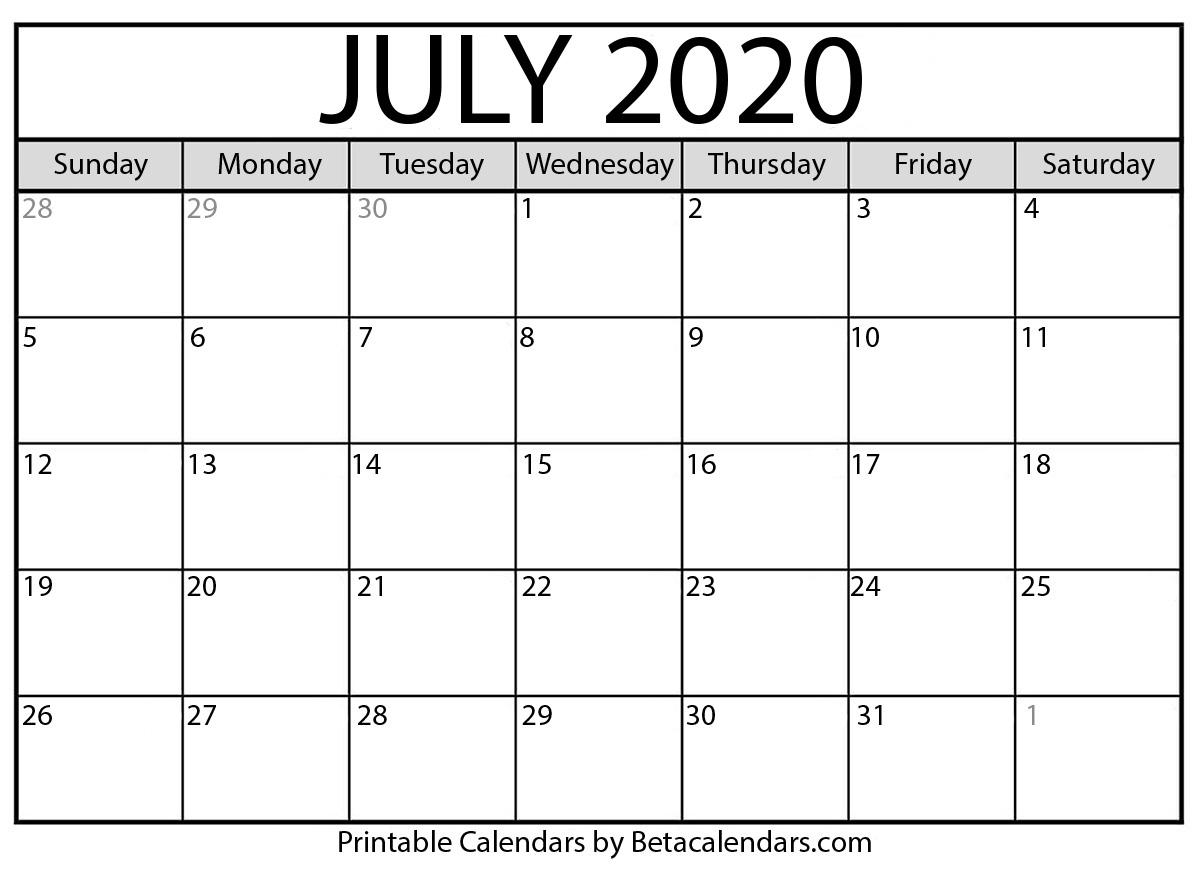 Blank July 2020 Calendar Printable - Beta Calendars