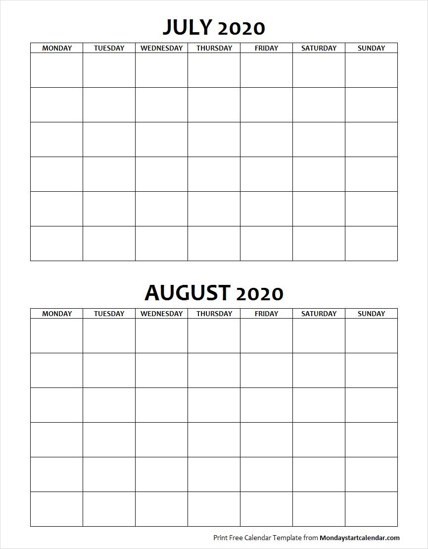 Blank July August 2020 Calendar Monday Start   Two Months
