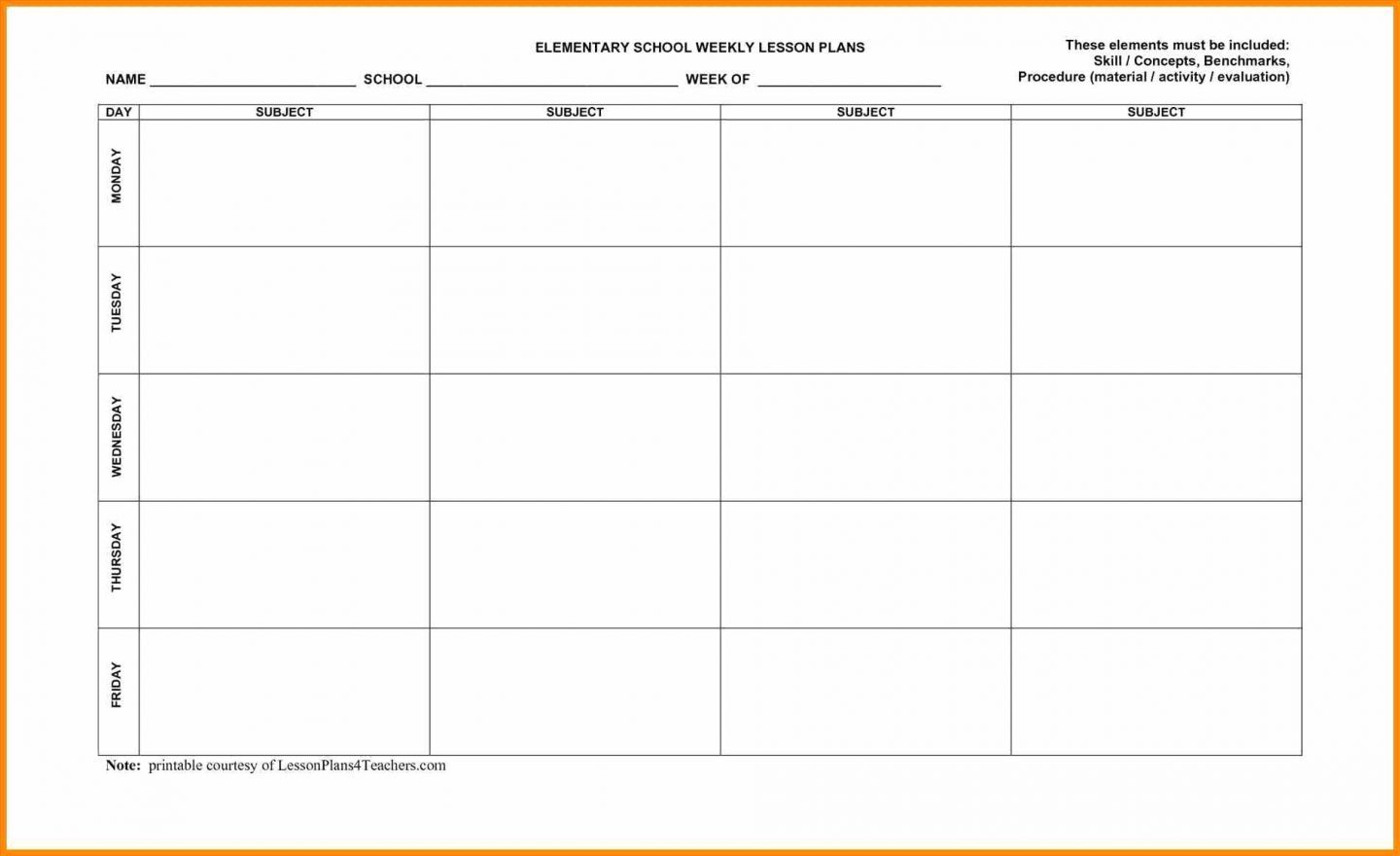 Blank Lesson Plan Templates To Print Template Free Printable