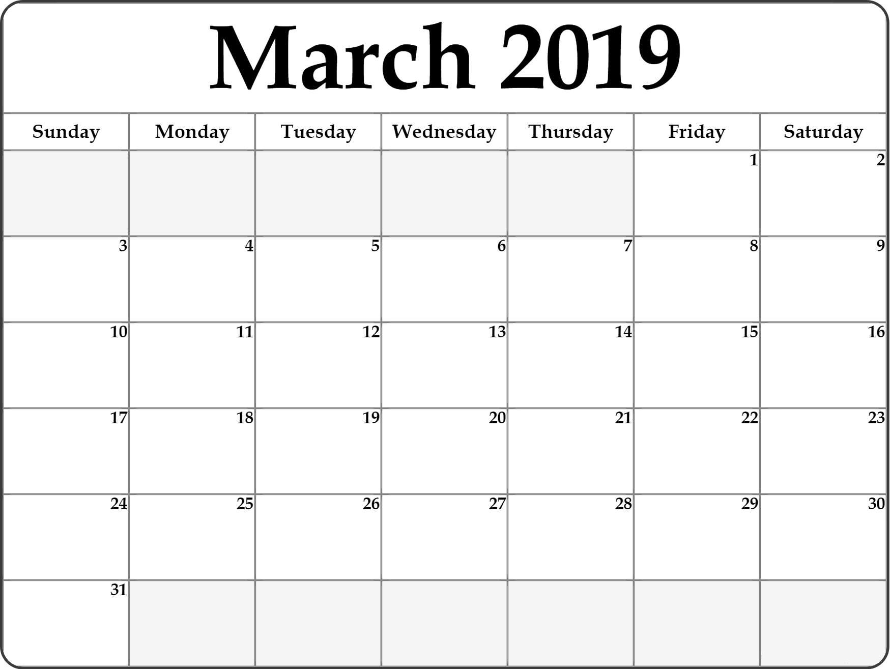 Blank March 2019 Calendar Printable - Free Printable