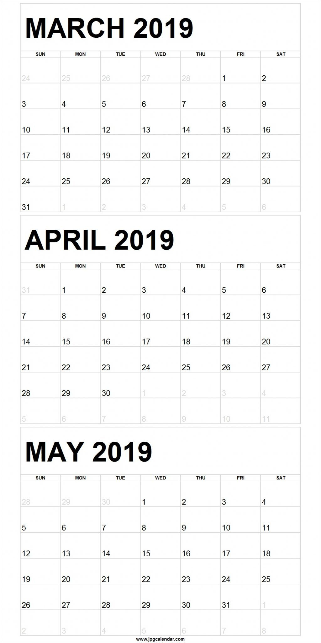 Blank March To May 2019 Calendar Printable | 250+ Free