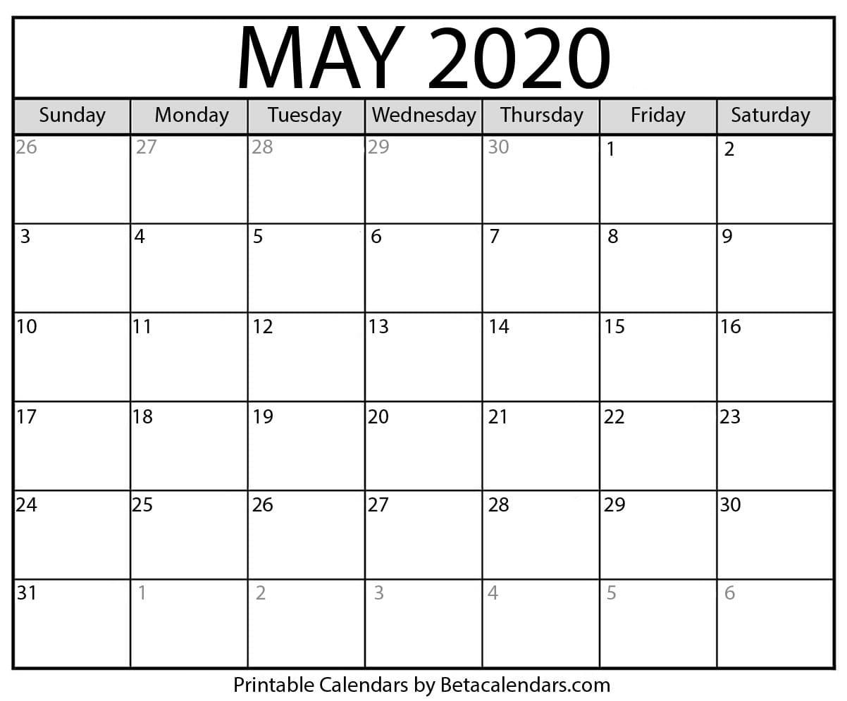 Blank May 2020 Calendar Printable - Beta Calendars