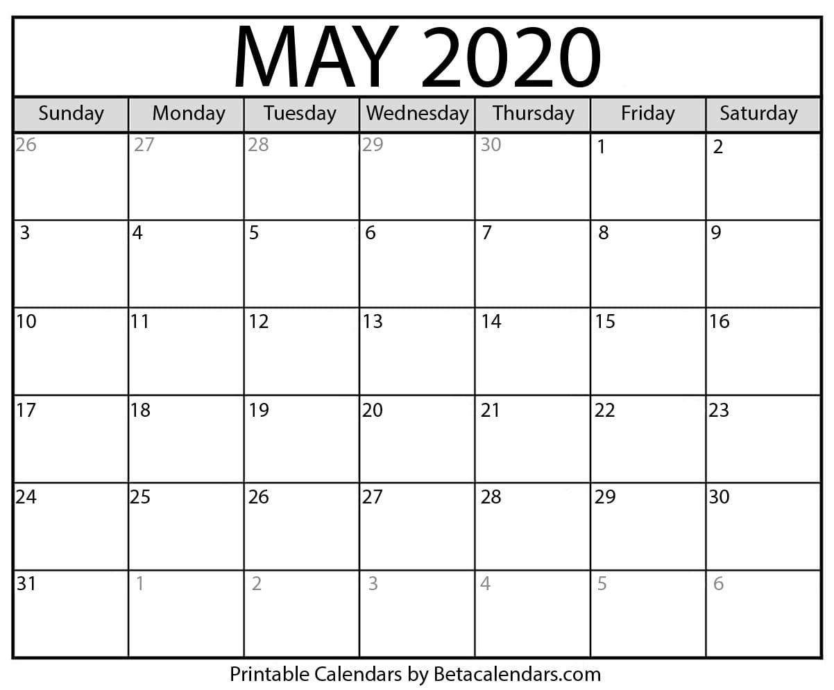 Blank May 2020 Calendar Printable - Beta Calendars