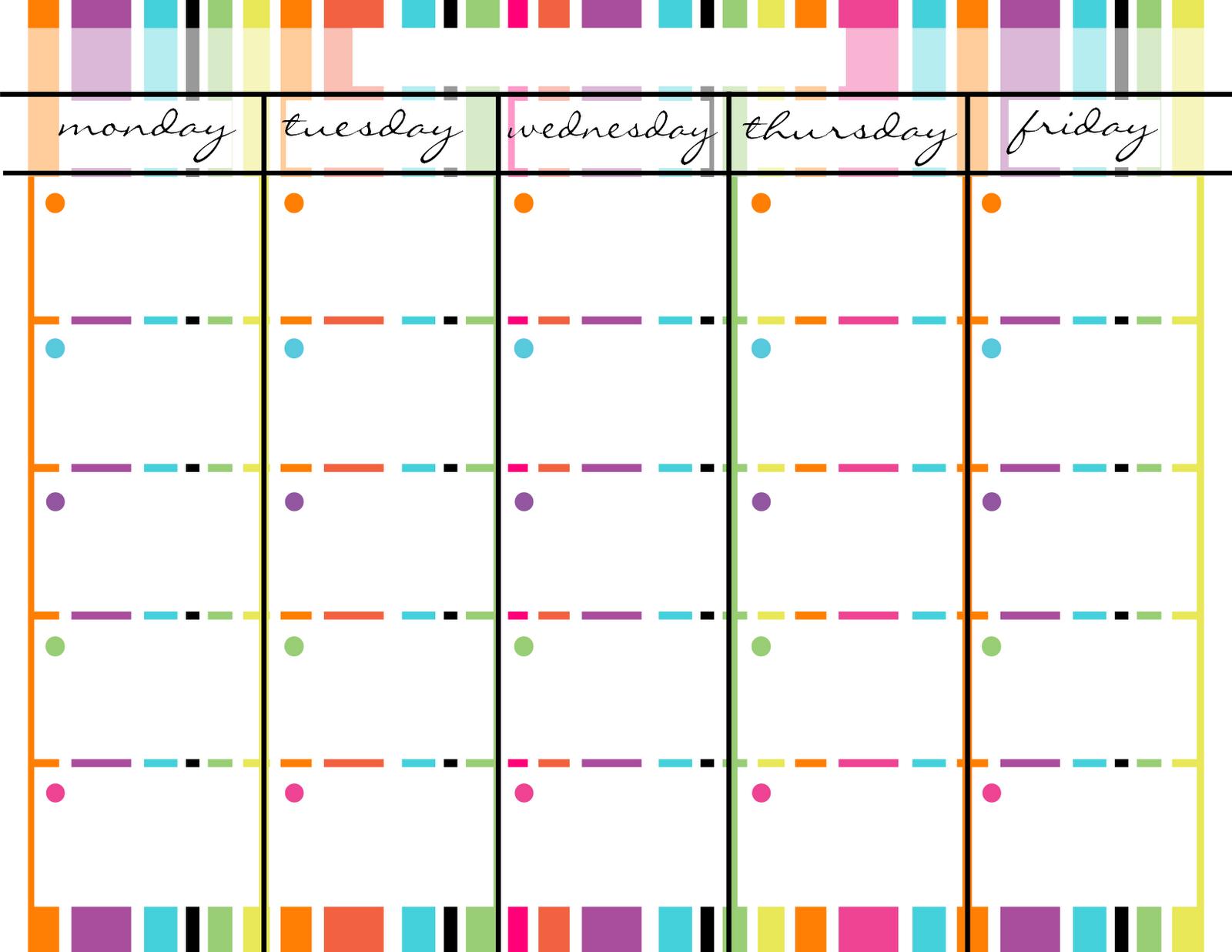 Blank Monday Through Friday Printable Calendar | School