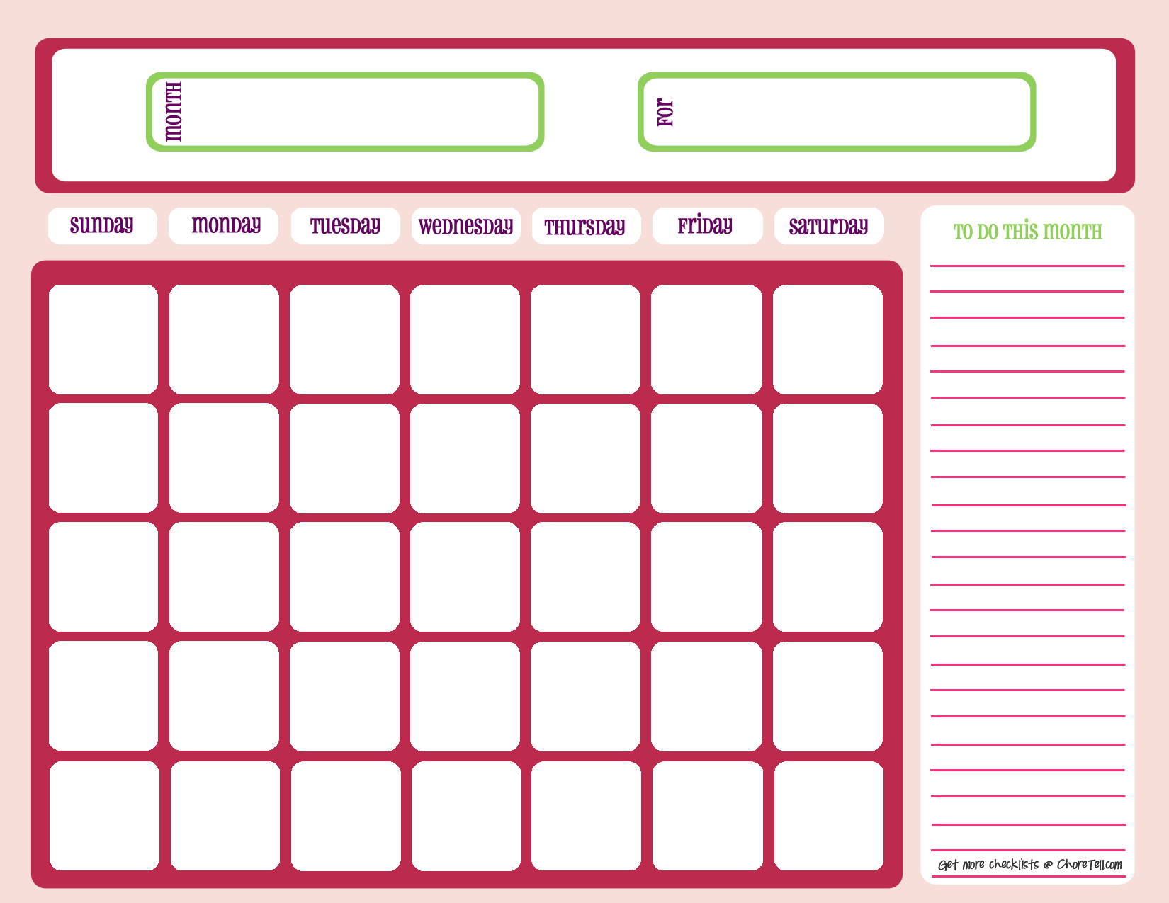 Blank Month Calendar - Pinks - Free Printable Downloads From