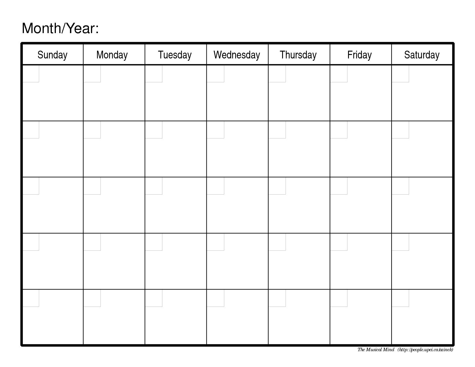 Blank Monthly Calendar Big Squares Printed For 100 % Free