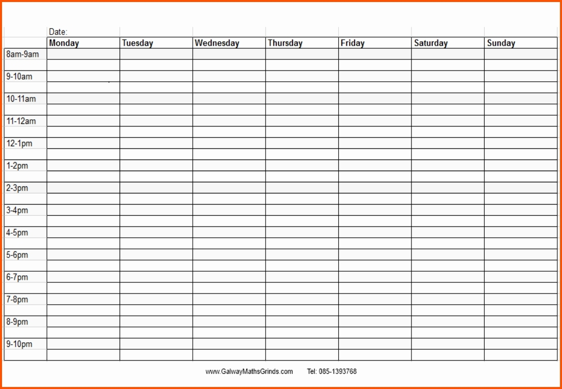 Blank Monthly Calendar With Times Template Time And Date