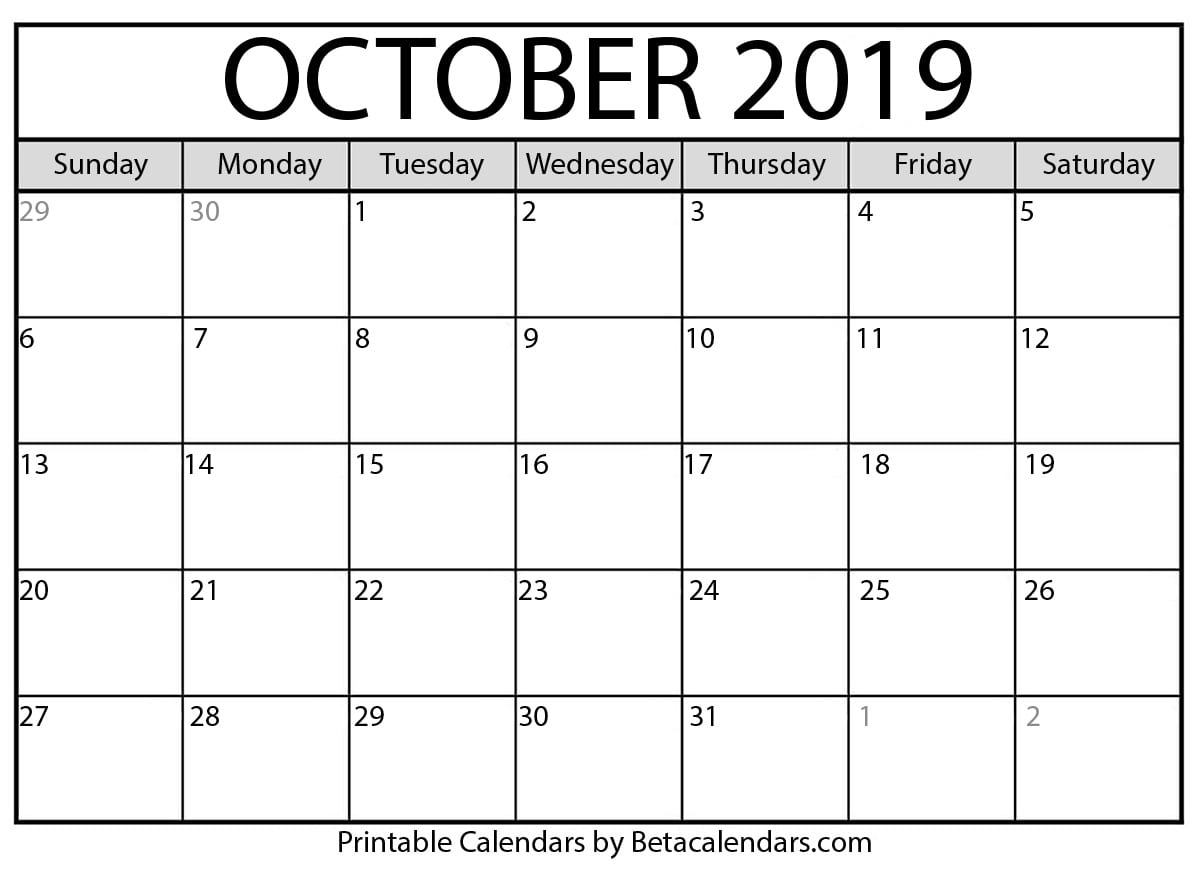 Blank October 2019 Calendar Printable - Beta Calendars