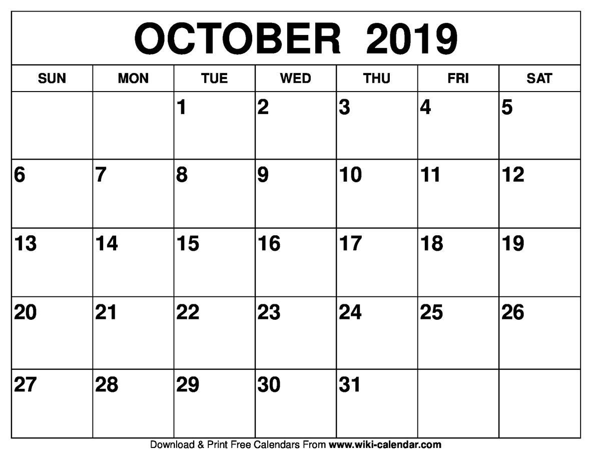 Blank October 2019 Calendar Printable Templates