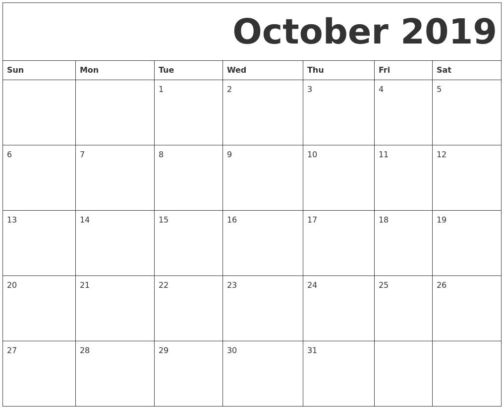 Blank October 2019 Calendar Templates Printable Download