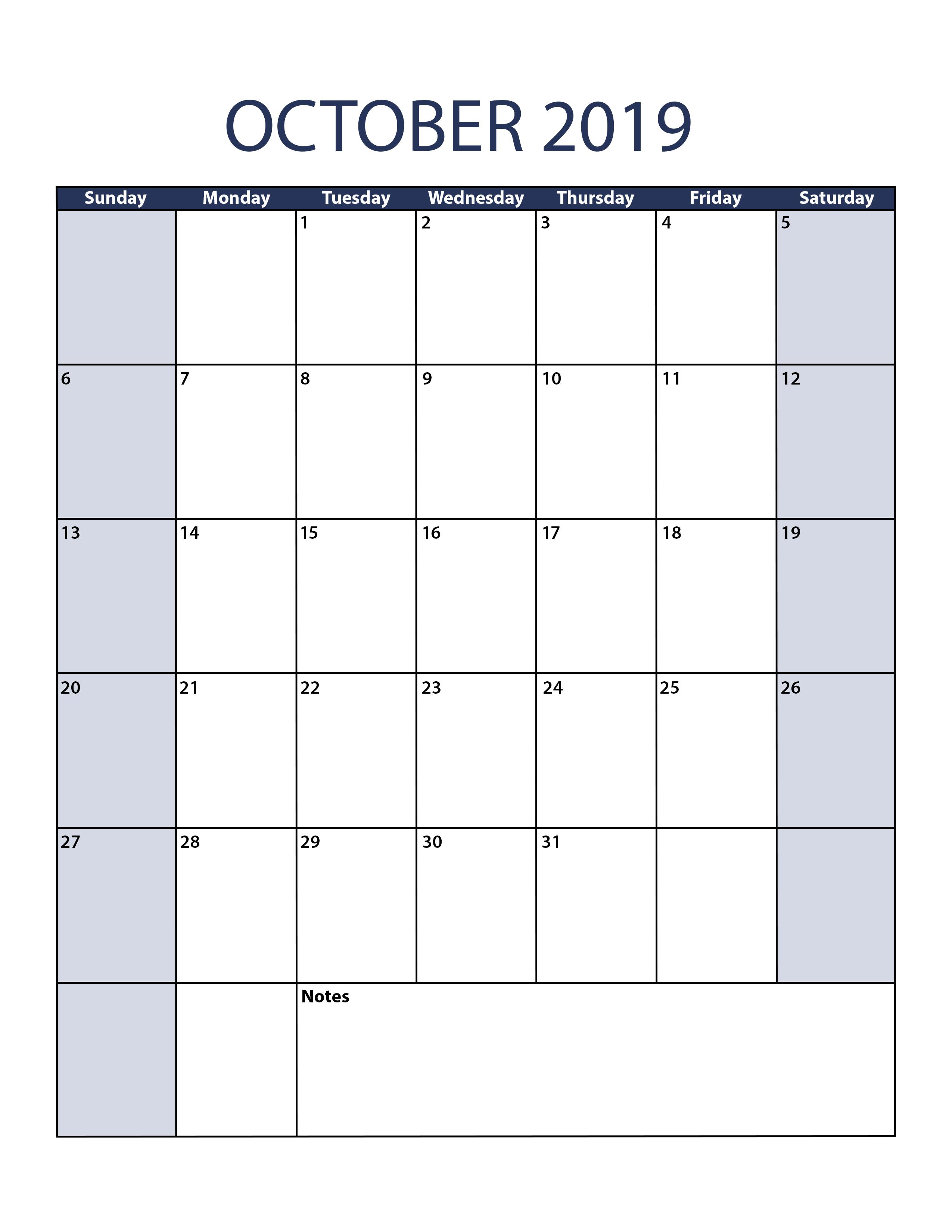 Blank October 2019 Calendar To Print