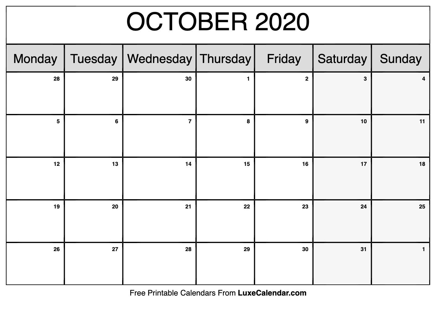 Blank October 2020 Calendar Printable - Luxe Calendar