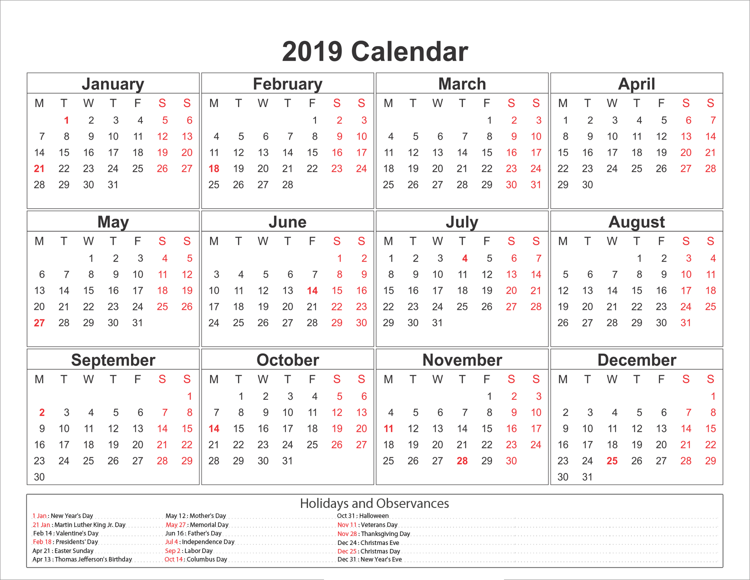 Blank Printable Calendar 2019 With Holidays