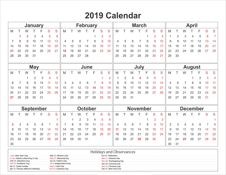 Blank Printable Calendar 2019 With Holidays
