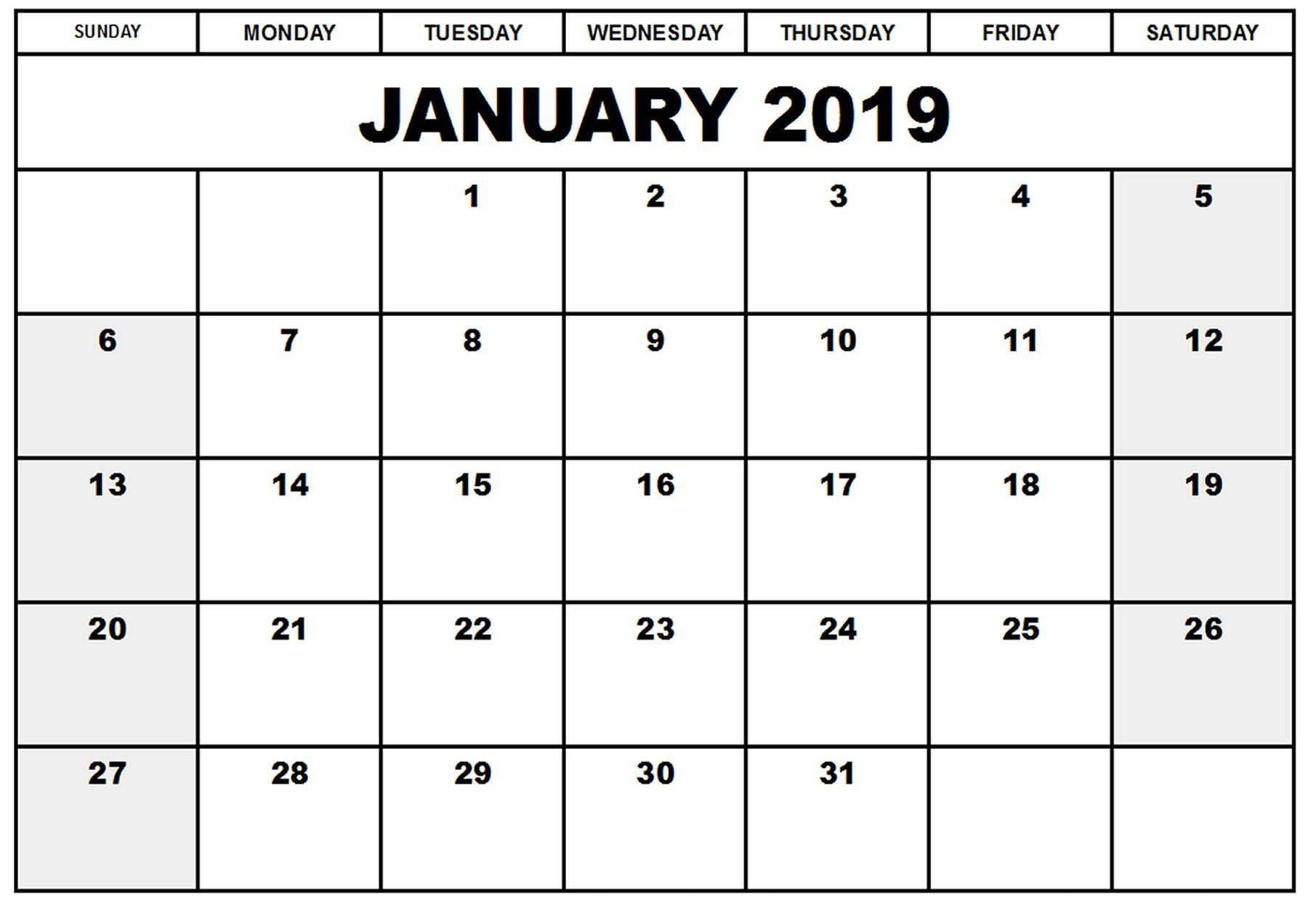 Blank Printable Calendar January 2019 | Printableshelter