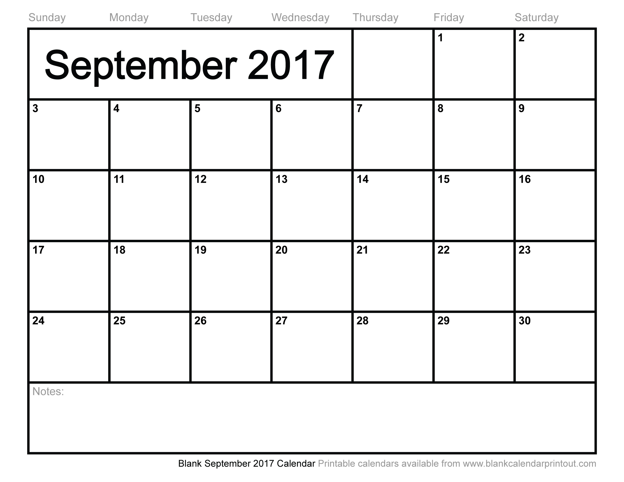 Blank September 2017 Calendar To Print