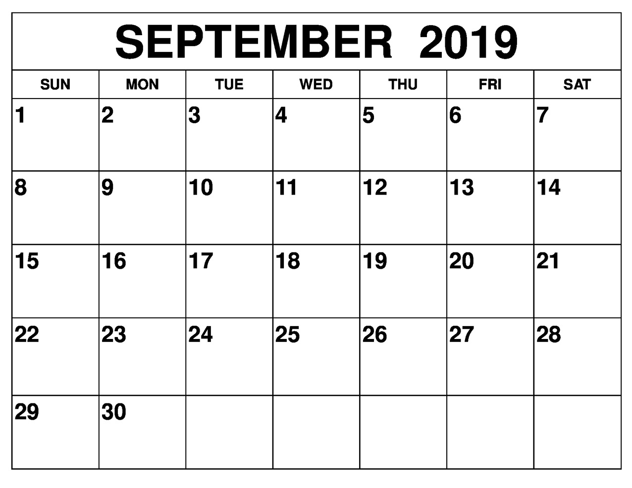 Blank September 2019 Calendar Printable Free Download