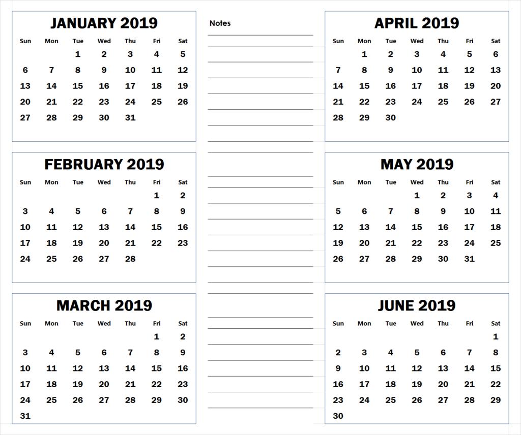 Blank Six Month 2019 Printable Calendar   2019 Calendars