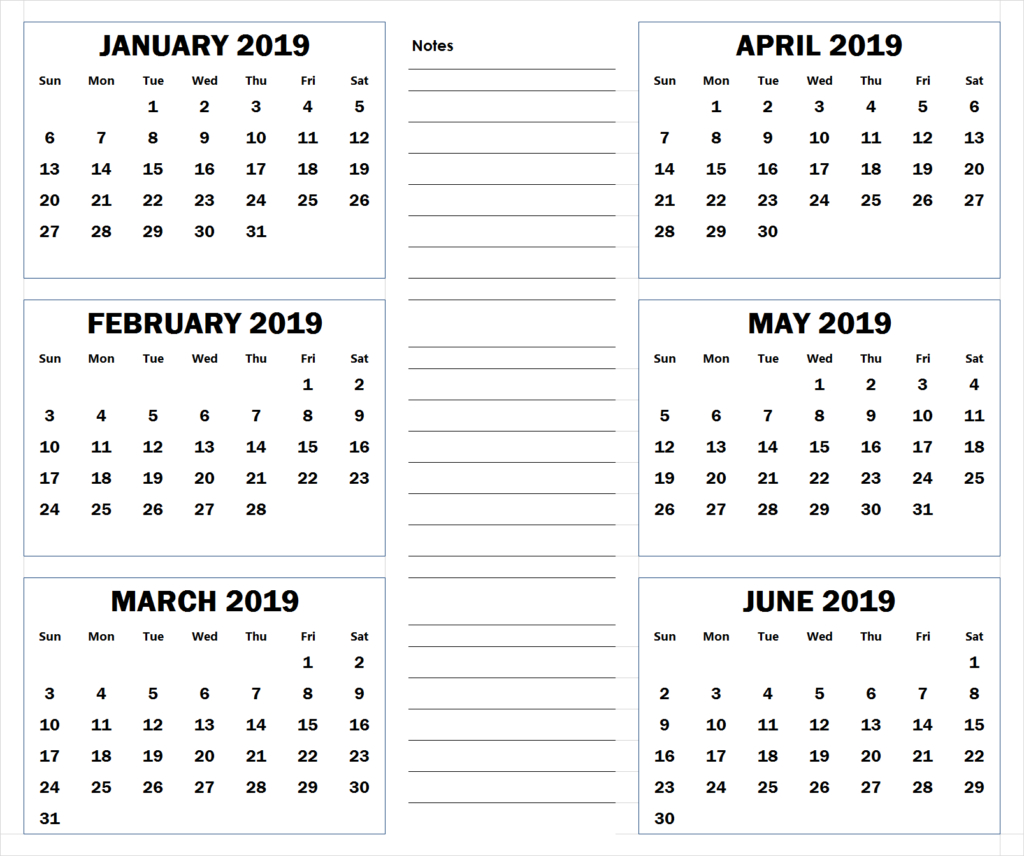 Blank Six Month 2019 Printable Calendar | 2019 Calendars