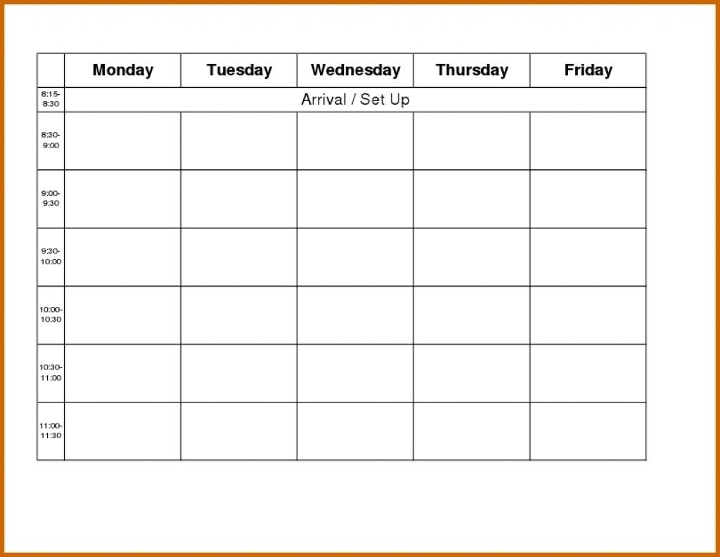 Blank Weekly Calendar Day Through Friday Sunday To Saturday