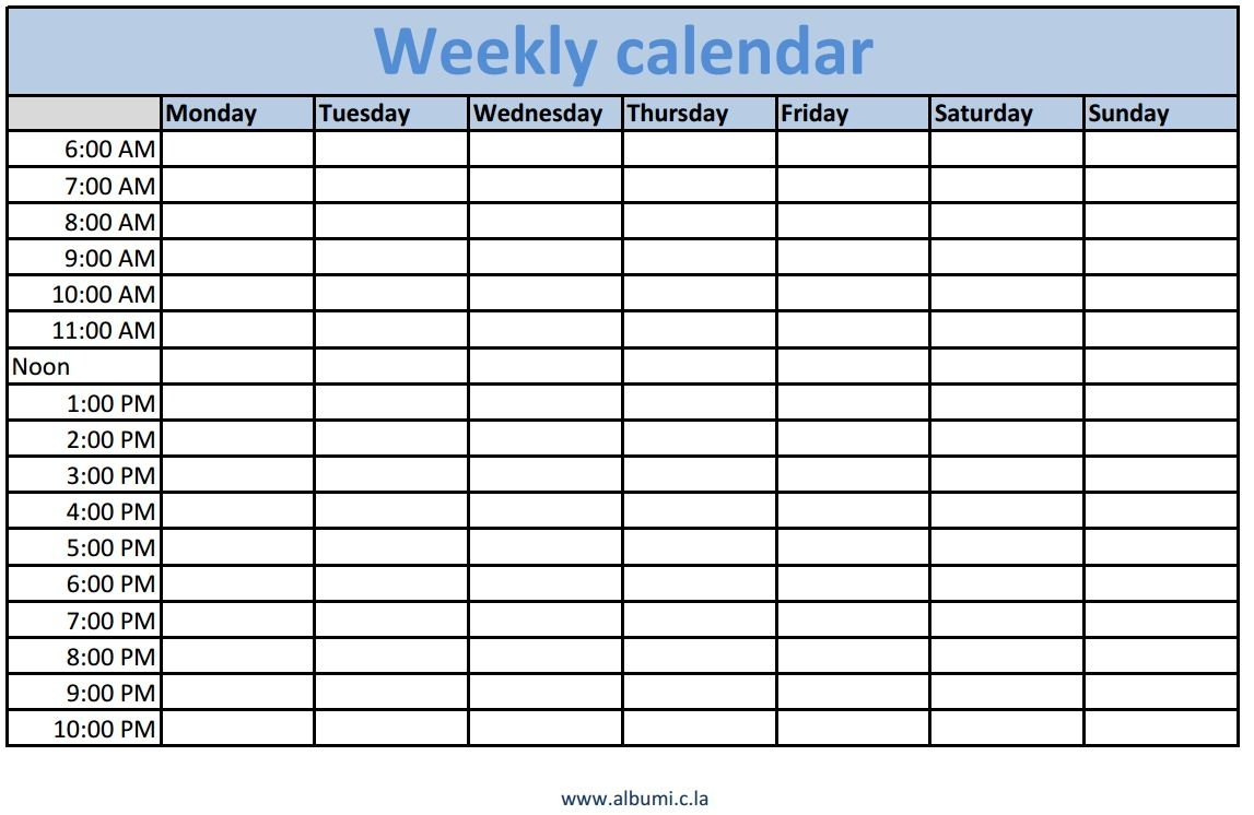 Blank Weekly Calendar Late Schedule With Time Slots Word