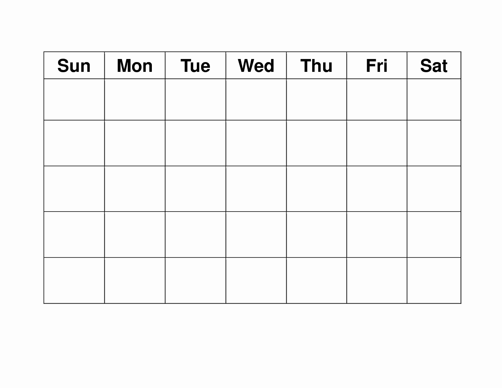 Blank Weekly Calendar Monday Through Friday Schedule
