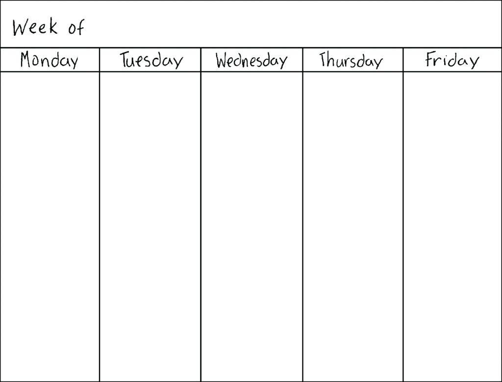 Blank Weekly Calendar Monday Through Friday Schedule Plate