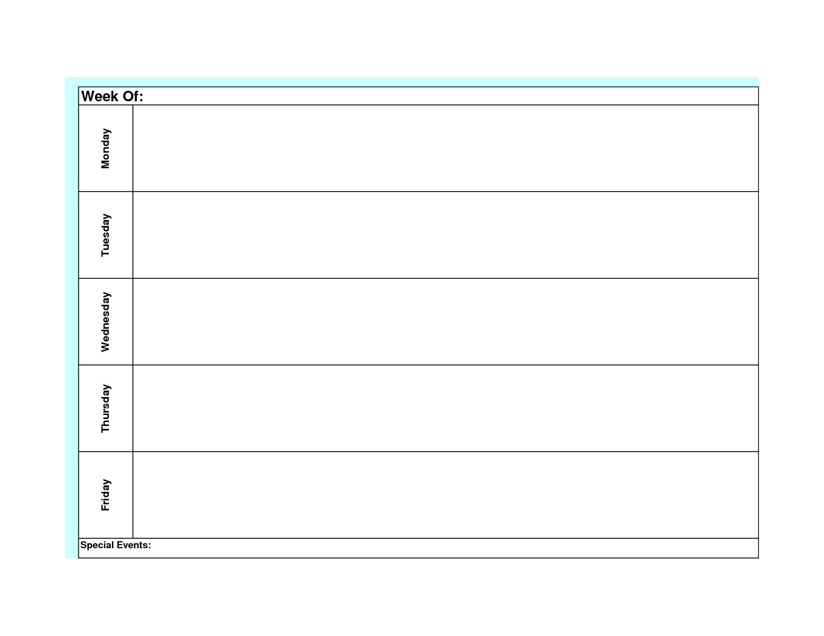Blank Weekly Calendar Template Monday Friday Planner Generic