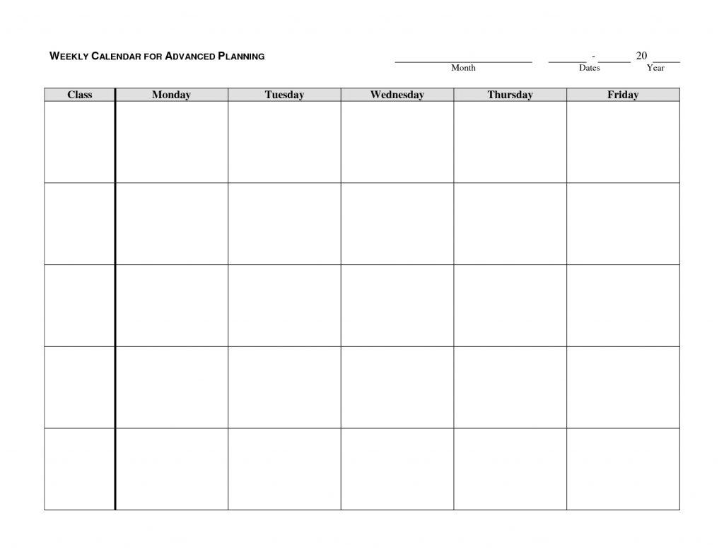 Blank Weekly Calendar Y Through Friday Schedule Template
