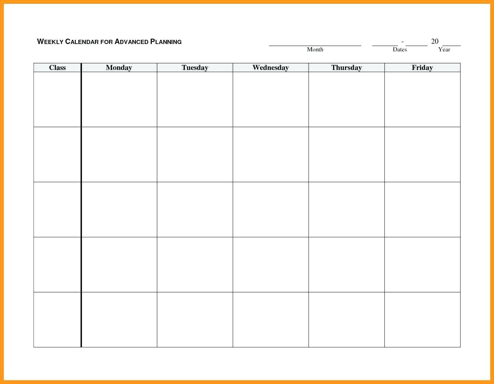 Blank Weekly Ndar Monday Through Friday Template Word Free