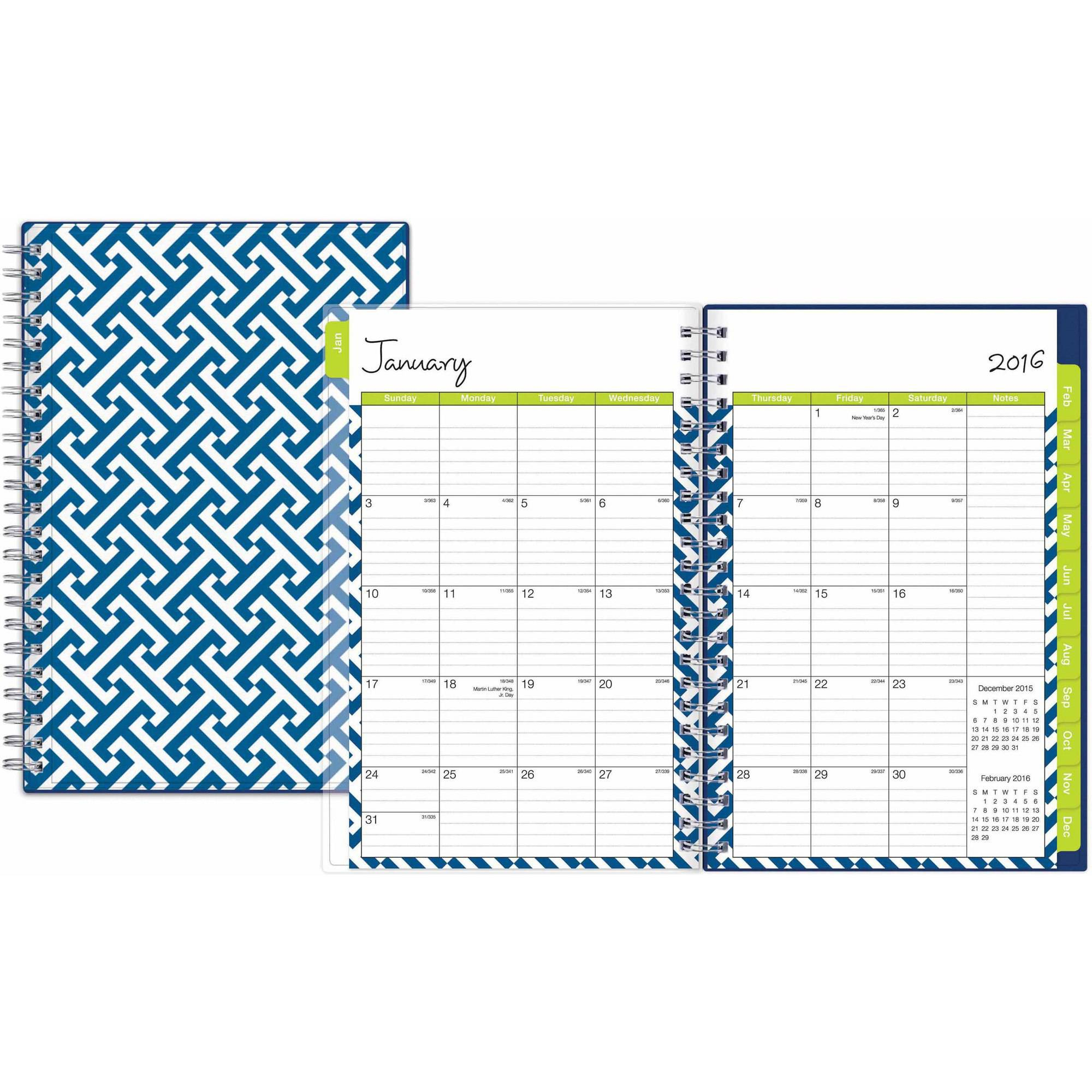 """Blue Sky Create Your Own Kiley Weekly/monthly 5"""" X 8"""" Planner, January 2016  - December 2016"""