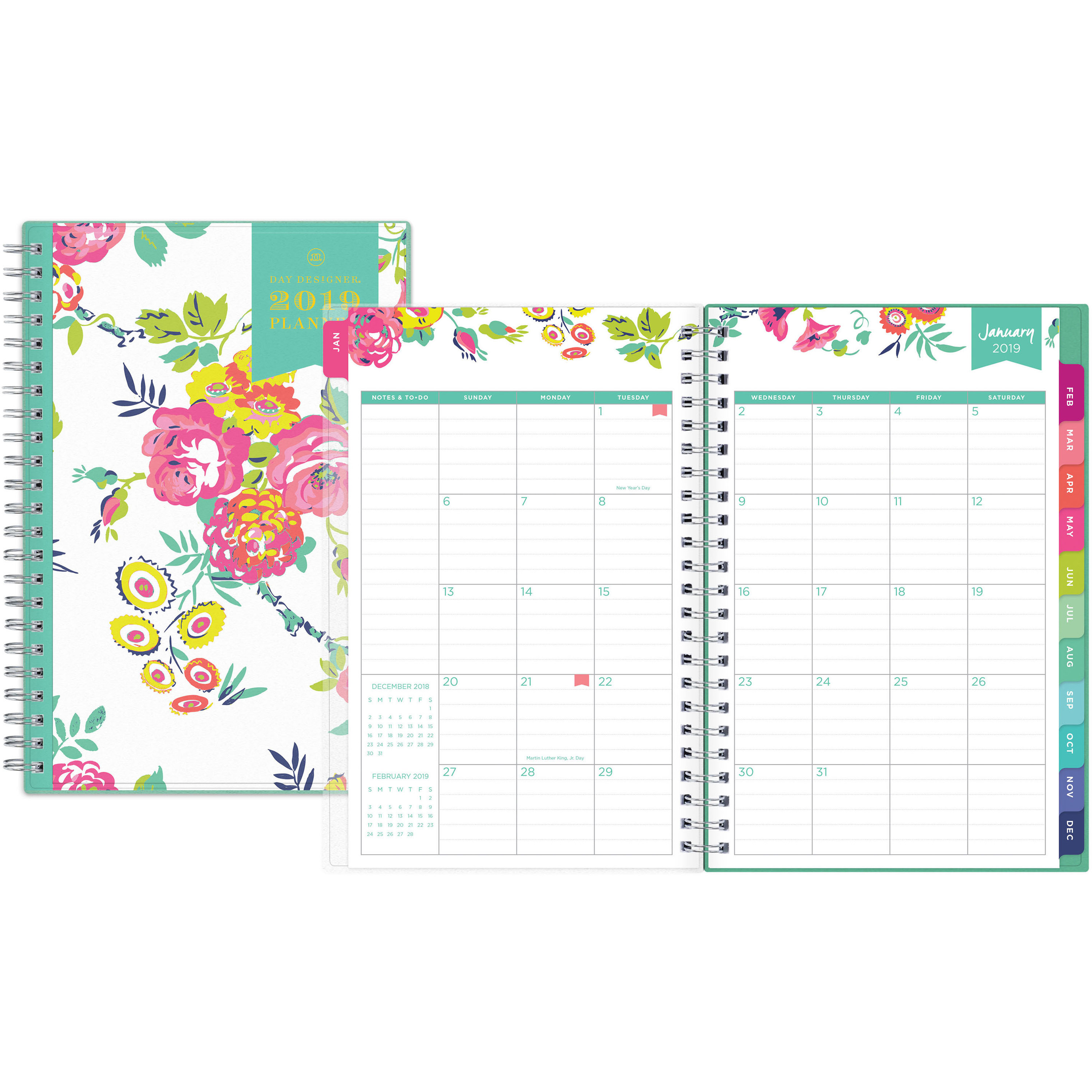 """Blue Sky Day Designer Weekly/monthly Planner - Yes - Weekly, Monthly - 1  Year - January Till December - 5"""" X 8"""" - Floral - Durable, Bleed Resistant,"""