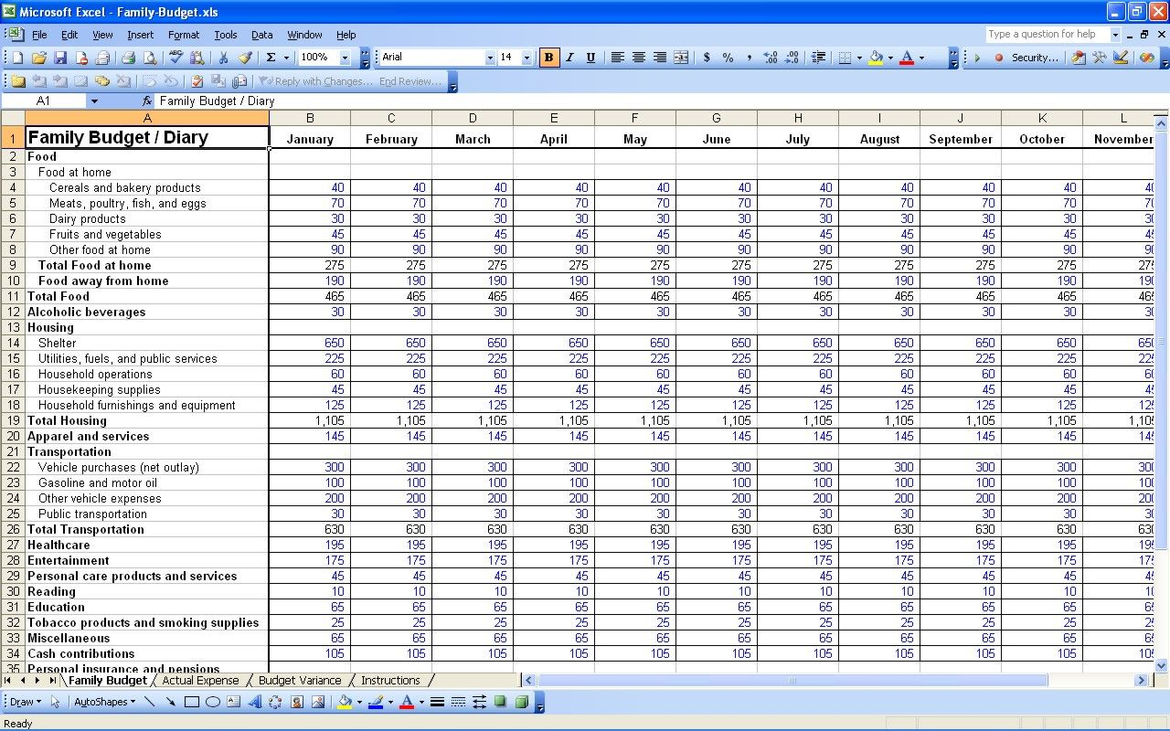 Budget Income And Expenses Spreadsheet Family Template Excel