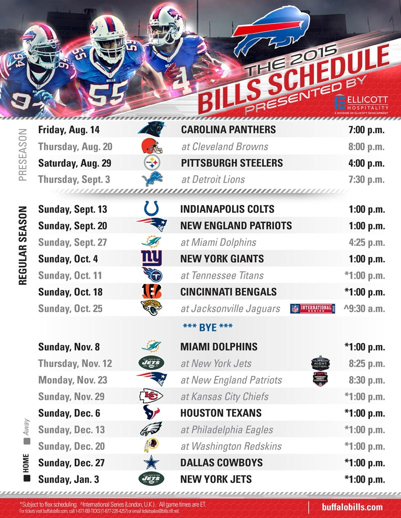 Buffalo Bills 2015 Schedule Presentedellicott